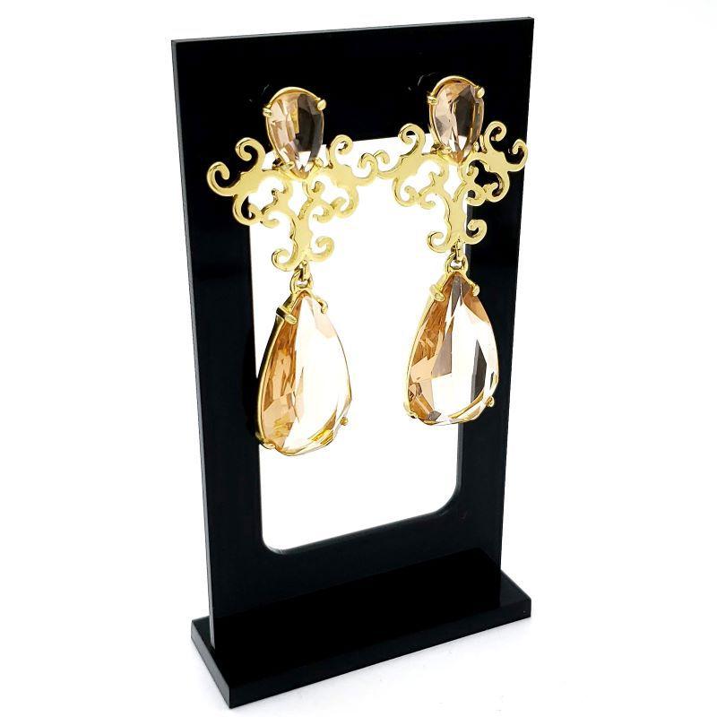 Brincos para Festa Chandelier Cristal Banho De Ouro 18k 1074