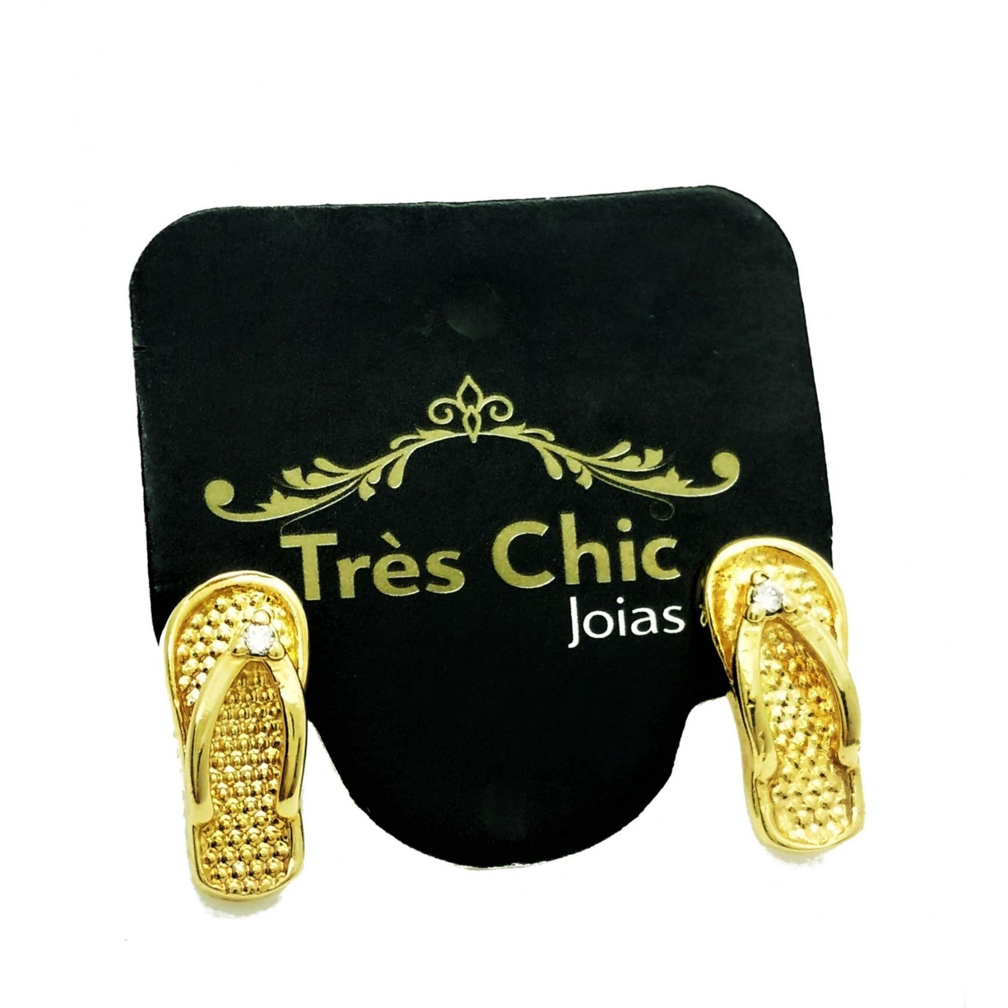 Brincos Chinelinho Zirconia Banho Ouro 18k 2915