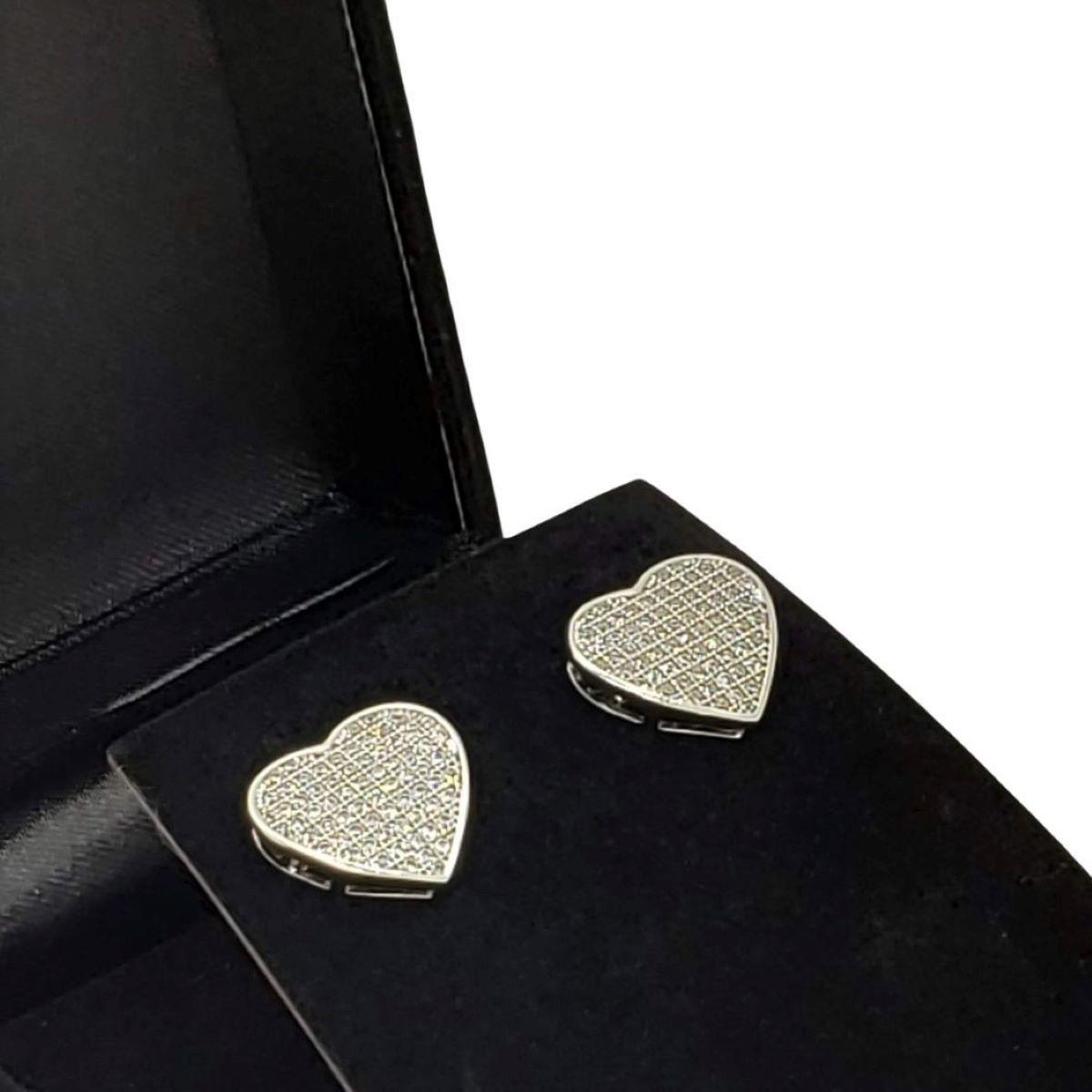 Brincos Coração Cravejados De Zirconias Ródio Claro 826