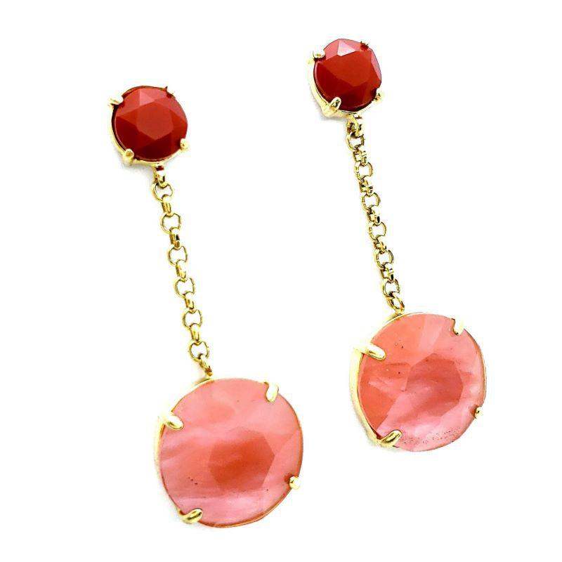 Brincos Cristal Vermelho Coral Banho De Ouro 18k 1104