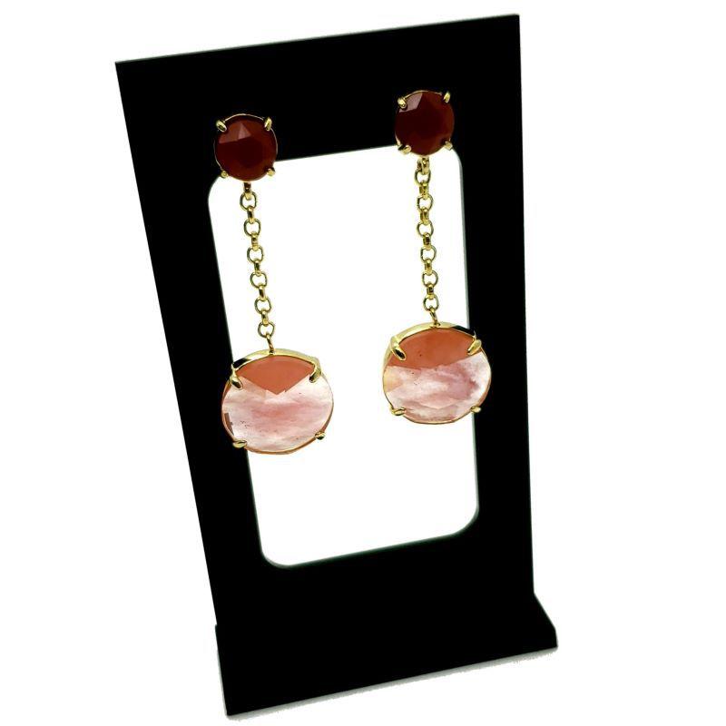 Brincos Coral E Cristal Vermelho Banhados A Ouro 18k 1104