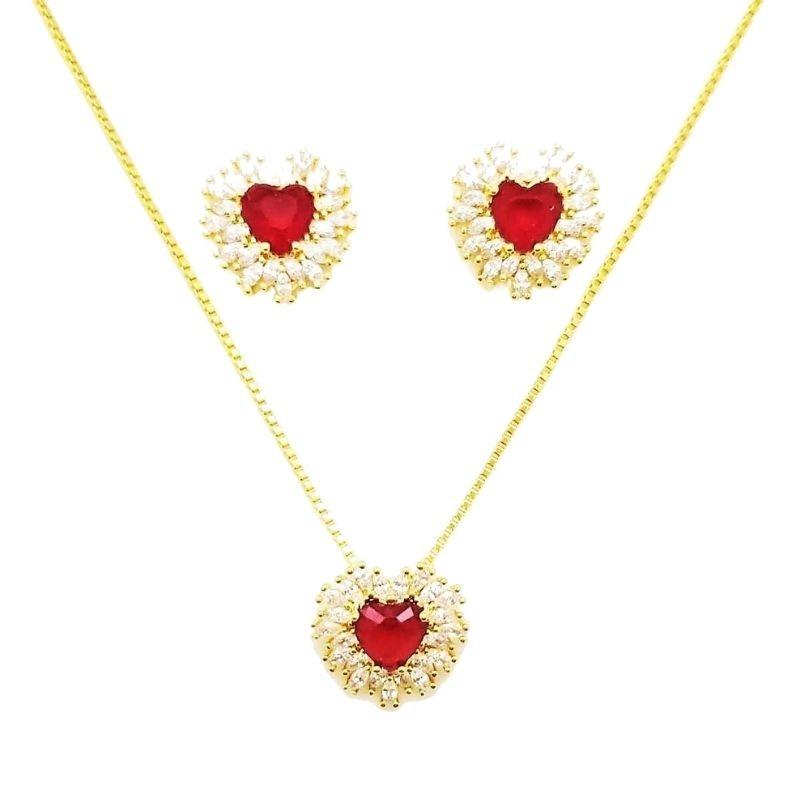 Brincos Cordão E Pingente Corações Zirconias Rubi Banho De Ouro 18k 4628