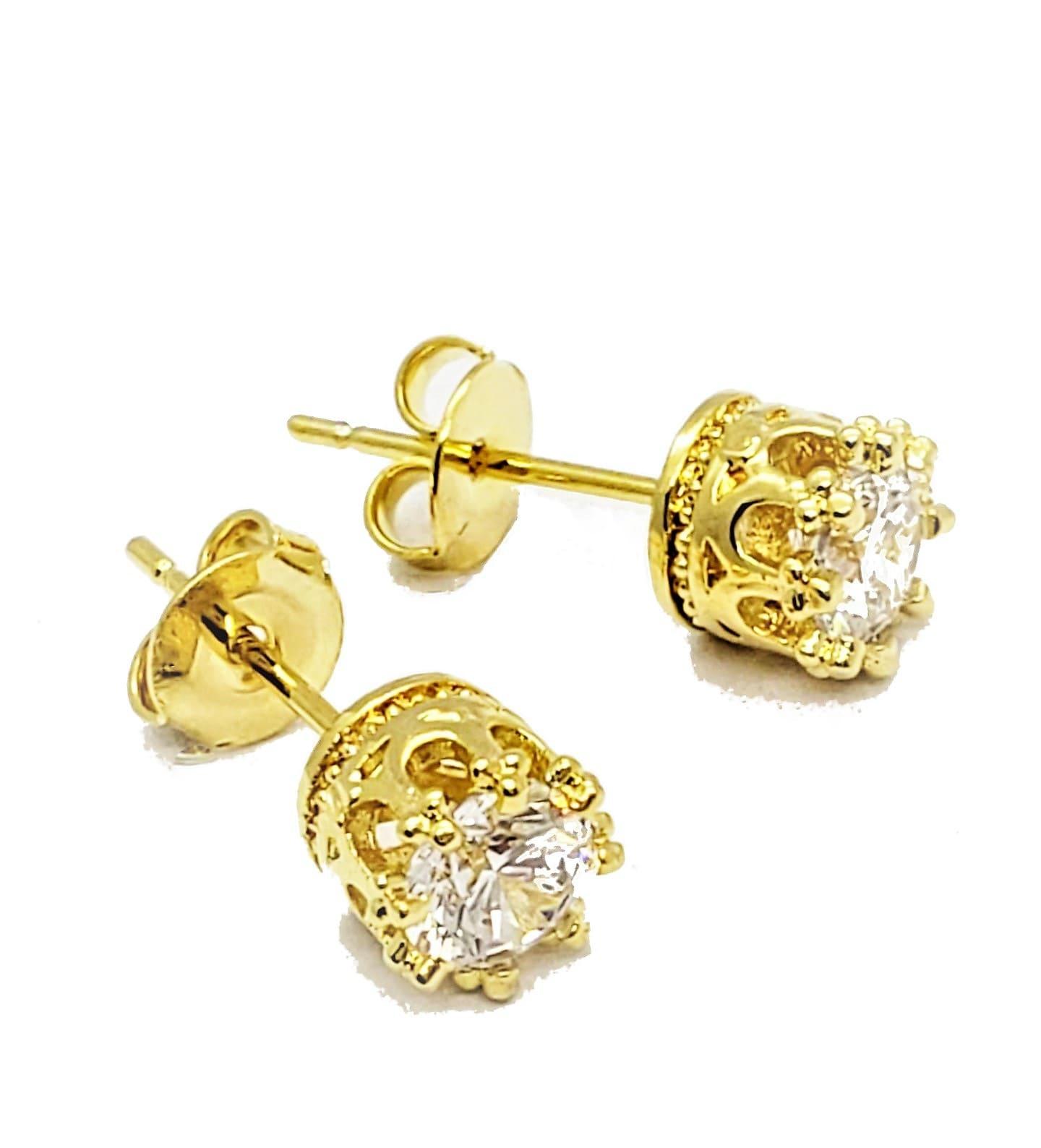 Brincos Coroa Solitário Zirconia Cristal Banho Ouro 18k 4529