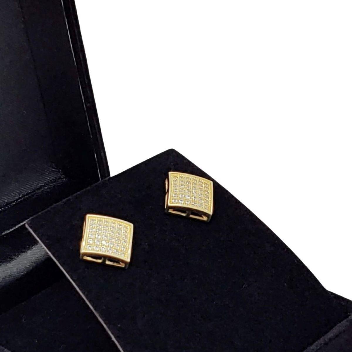 Brincos Cravejados Banho De Ouro 18k 1031