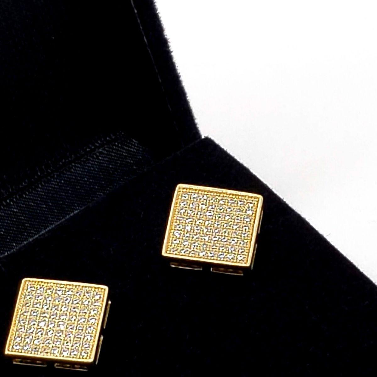 Brincos Cravejados Pavé De Zirconias Banho De Ouro 2535