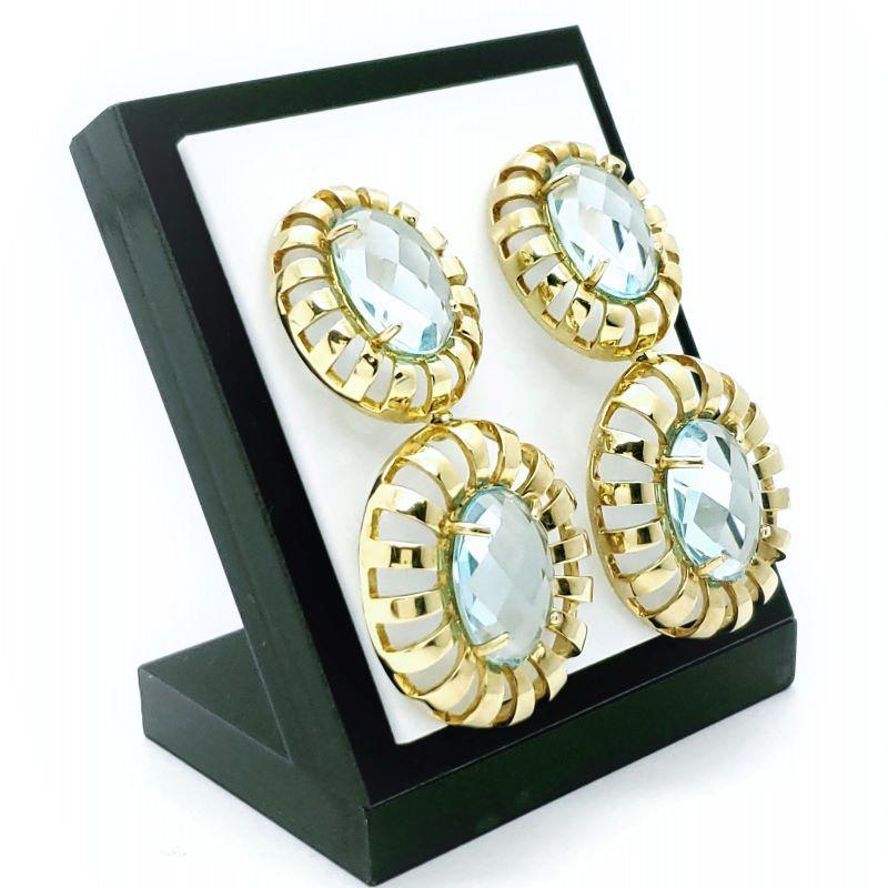 Brincos Cristal Azul Água Marinha Lapidação Multifacetada Banho De Ouro 18k 828
