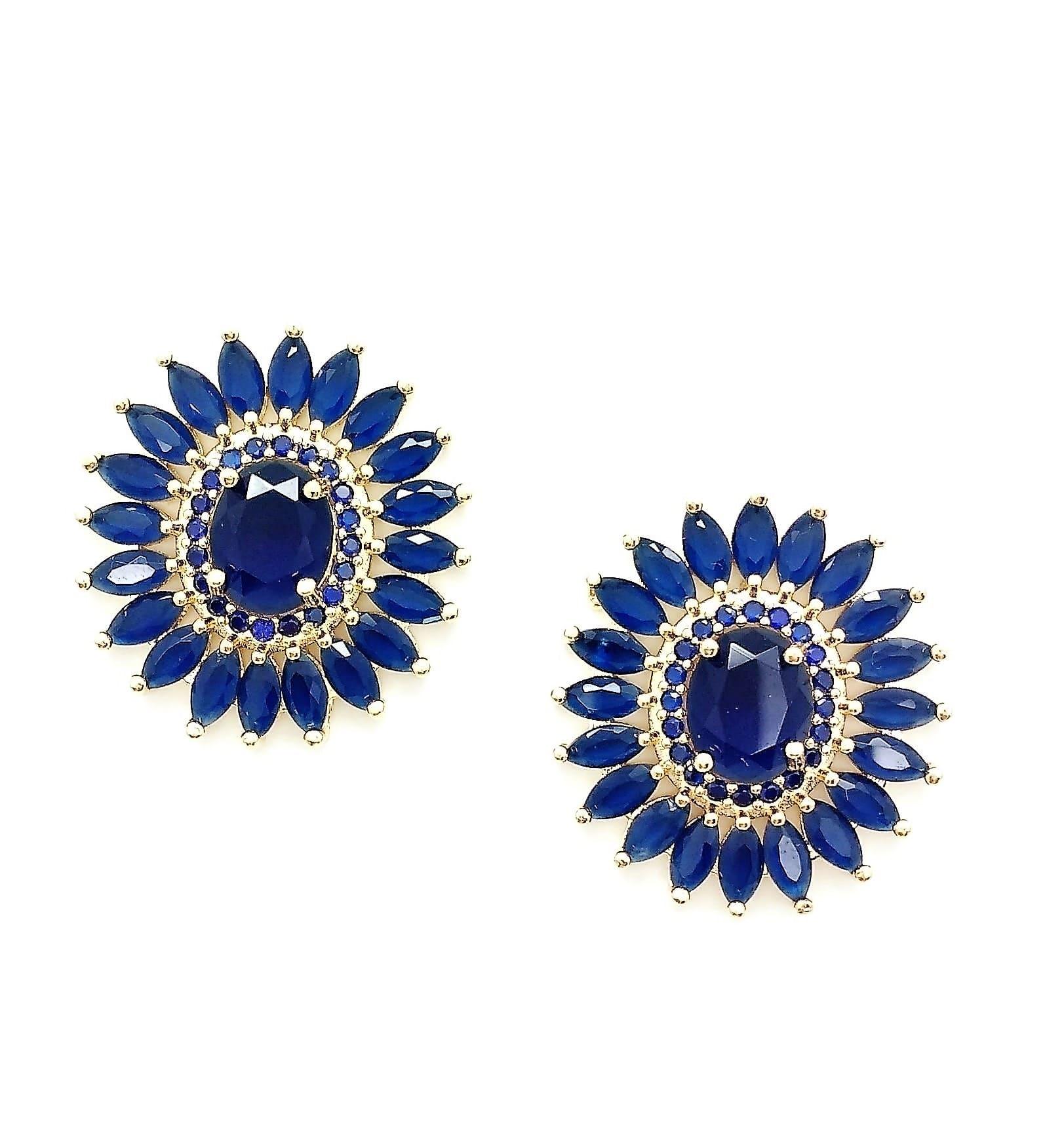 Brincos Cristais Azul Safira e Microzirconias Banho De Ouro 18k 4467