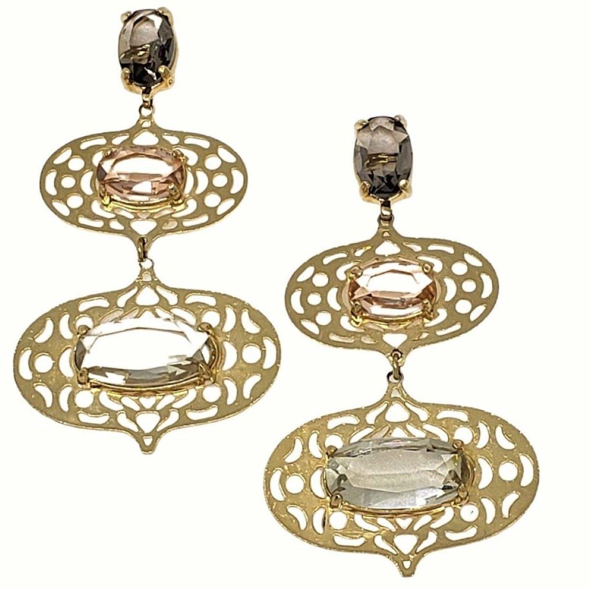 Brincos Cristais E Balões Banho De Ouro 18k 1374