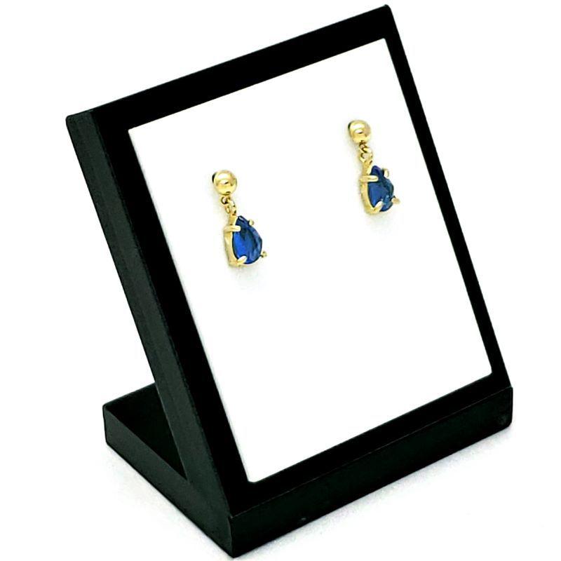 Brincos De Pedras Cristal Gota Azul Safira Banhados A Ouro 18k 1390A