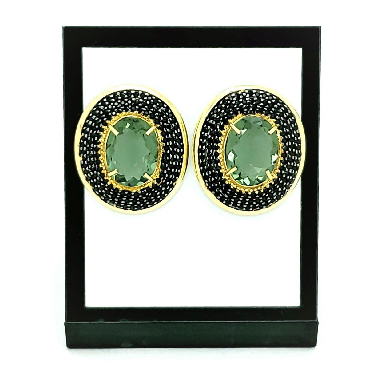 Brincos Verde Prasiolita Cravejados Com Zirconias Negras Banho De Ouro 18k 1116