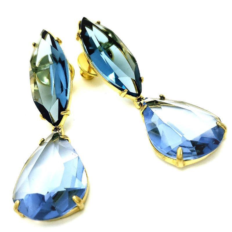 Brincos Cristal Azul Topázio E London Blue Banho De Ouro 18k 1100