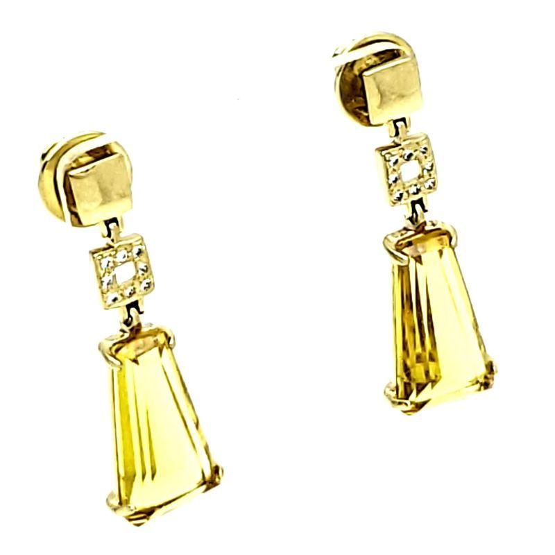 Brincos Cristal Trapézio Cravejado De Zirconias Banho De Ouro 18k 1084