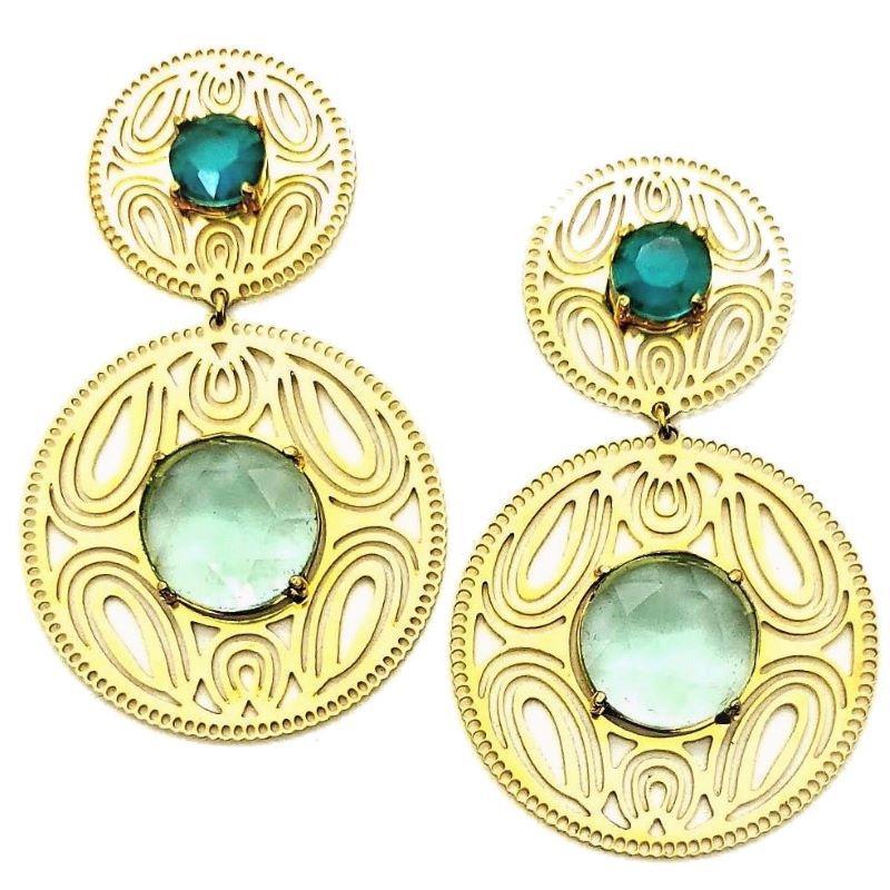 Brincos Pedra Verde Turmalina E Esmeralda Banhados A Ouro 18k 1375