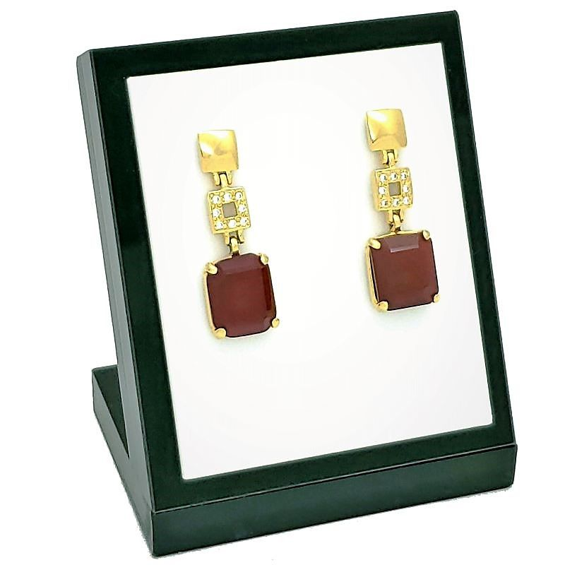 Brincos Cristais Vermelho Granada Cravejados Banhados A Ouro 18k 1395