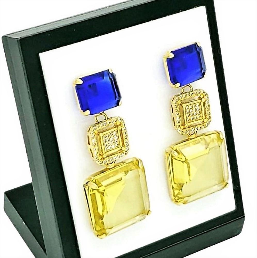 Brincos Cristal Amarelo Citrino E Azul Safira Cravejados De Zirconias Banho De Ouro 18k 750