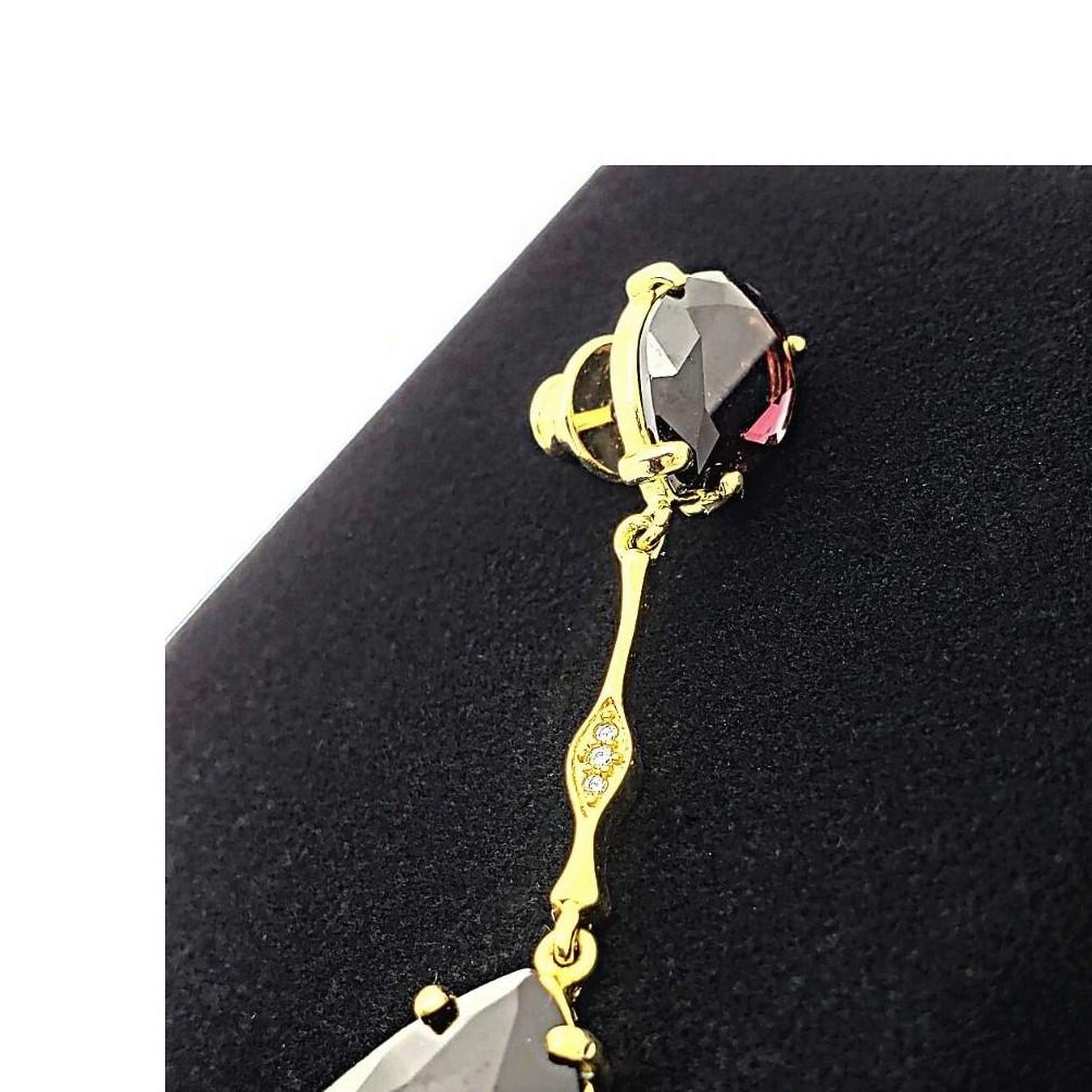 Brincos Cristal Ametista Cravejados Banho De Ouro 18k 2506