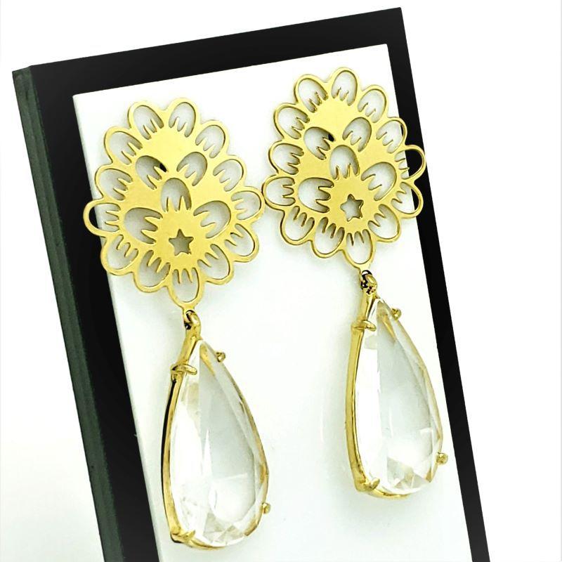 Brincos de Festa Pedra Cristal Com Flor E Estrela Banho De Ouro 18k 418