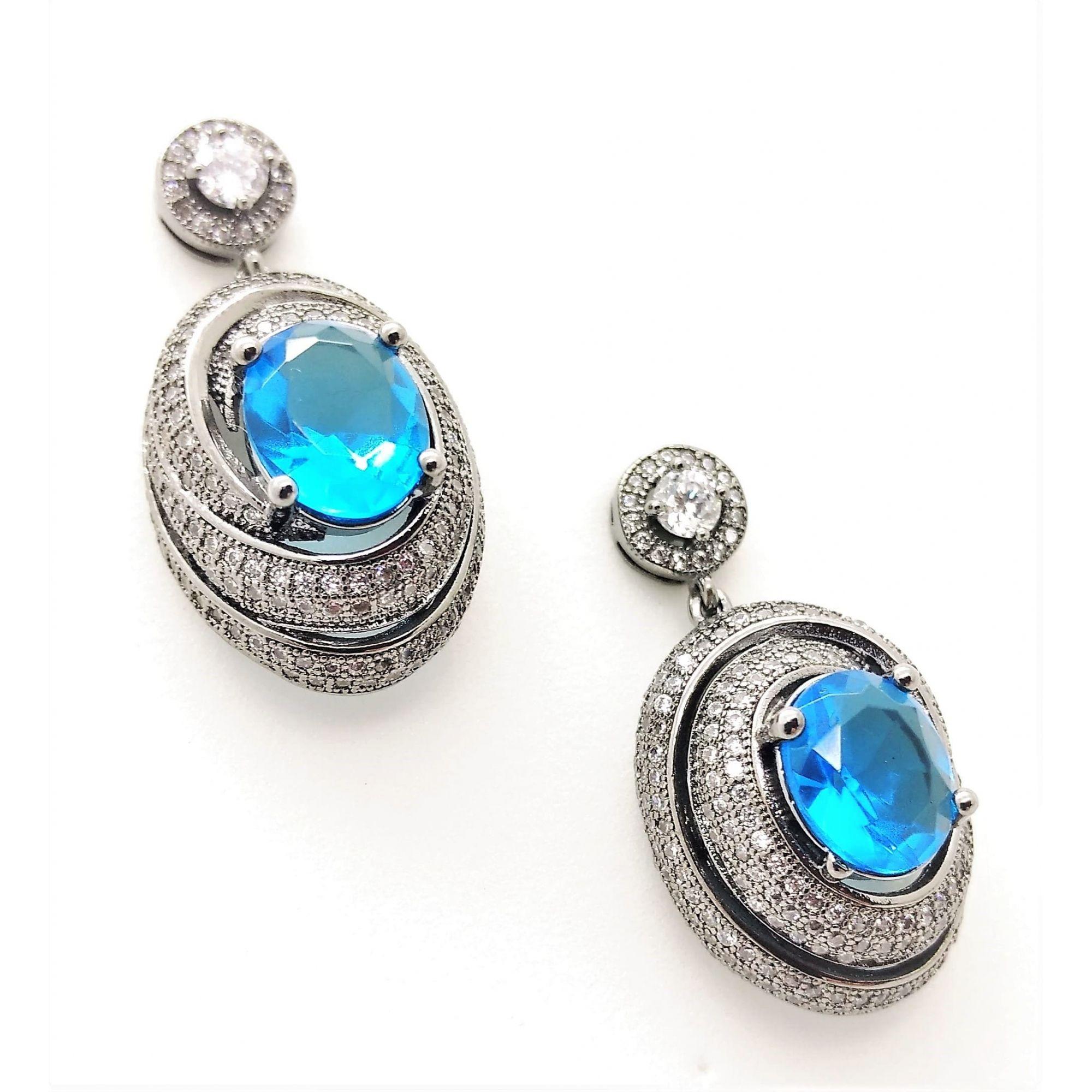 Brincos Caracol Cristal Azul Safira E Pavé De Microzirconias Ródio Negro 2384