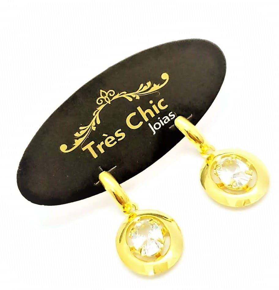 Brincos Cristal Moldura Oval Banho Ouro 18k 4596