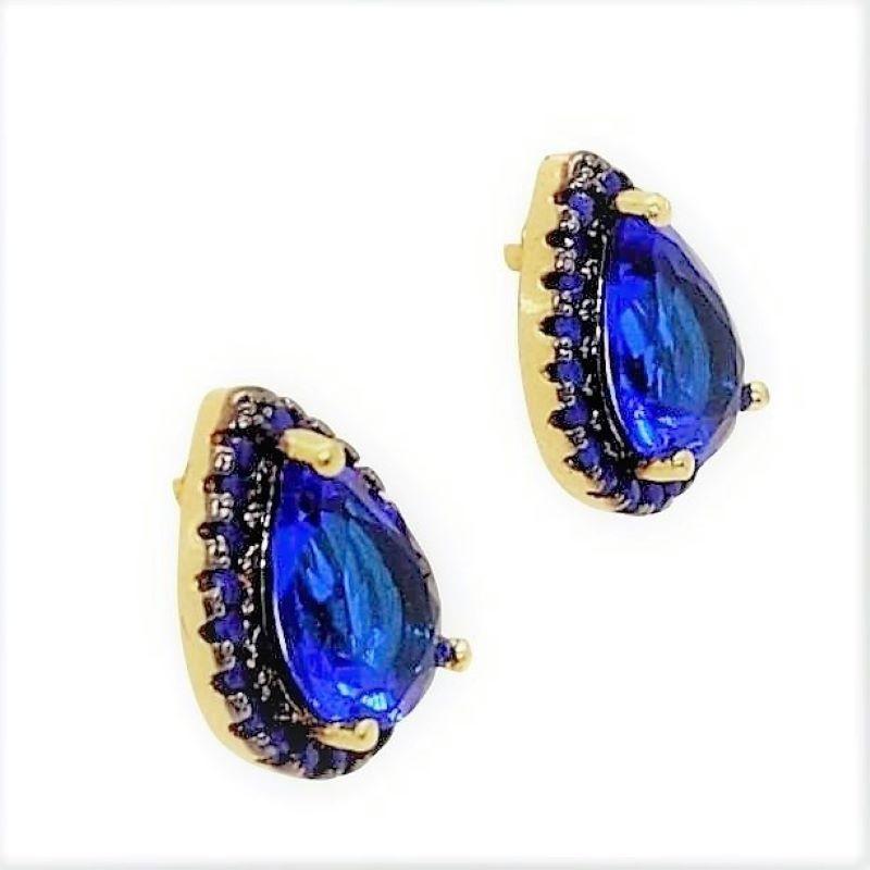 Brincos Cristal Safira Microzirconias Azuis Banho De Ouro 18k 3742