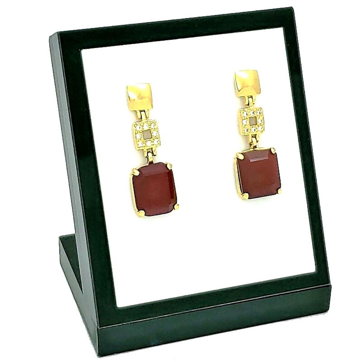 Brincos Cristal Vermelho Granada Cravejados De Zirconias Banho De Ouro 18k 1395