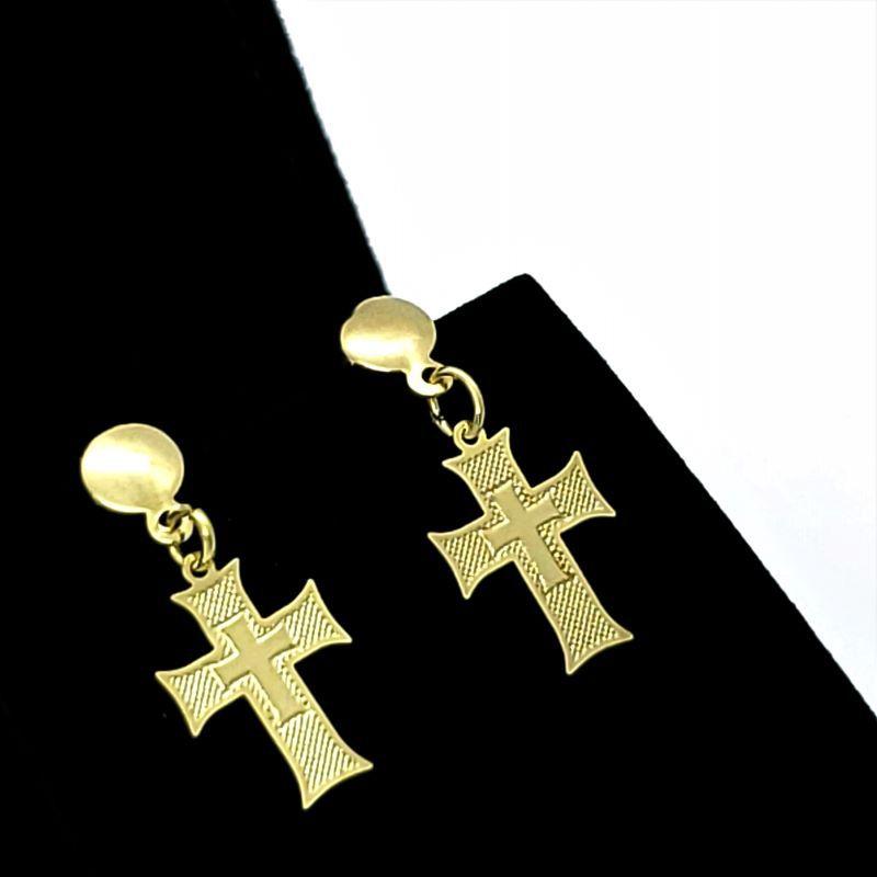 Brincos Cruz Da Ordem De Cristo Banho De Ouro 18k 1644