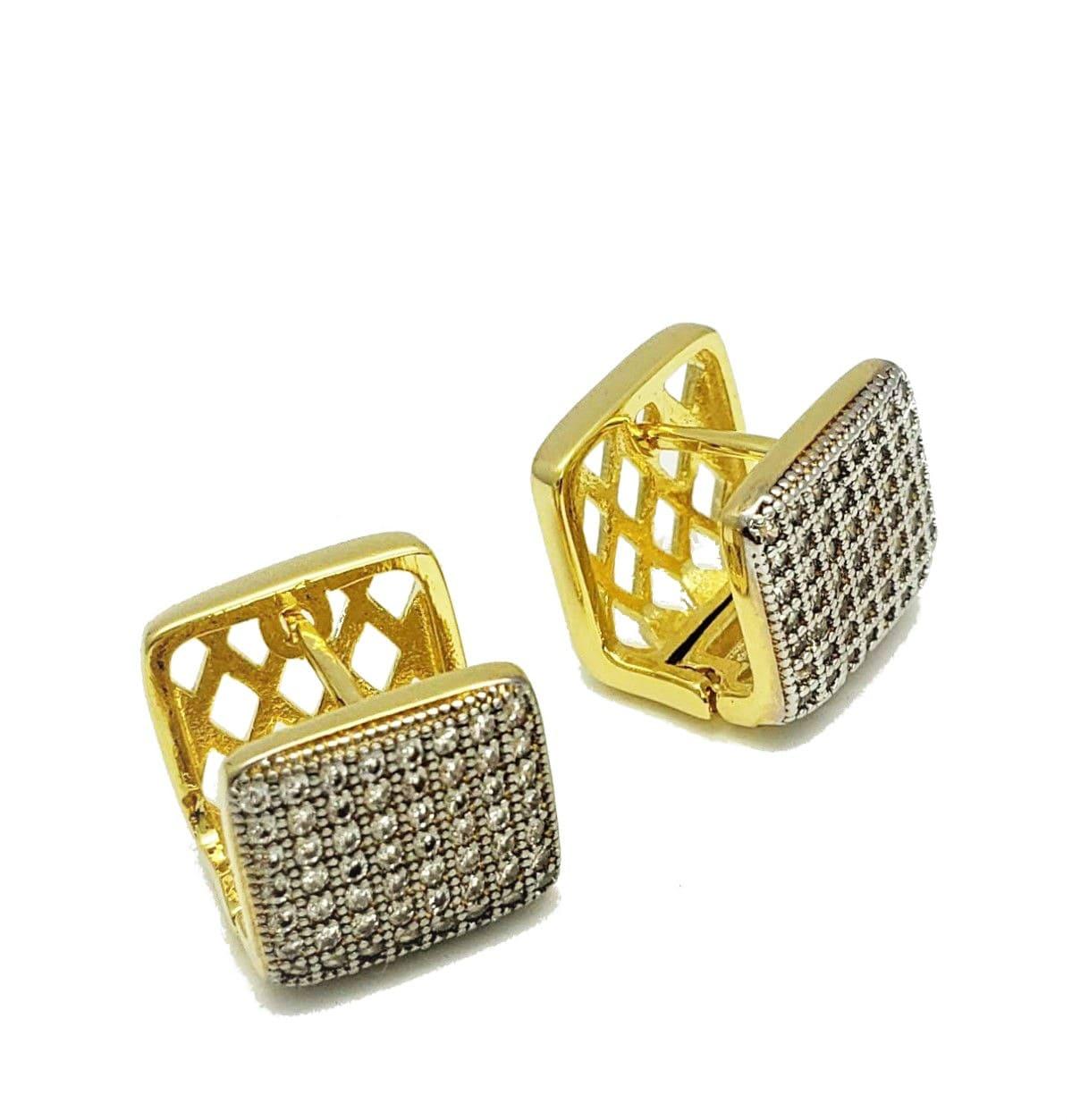 Brincos Cubo Cravação Pavé De Zirconias Banho De Ouro 18k 4551