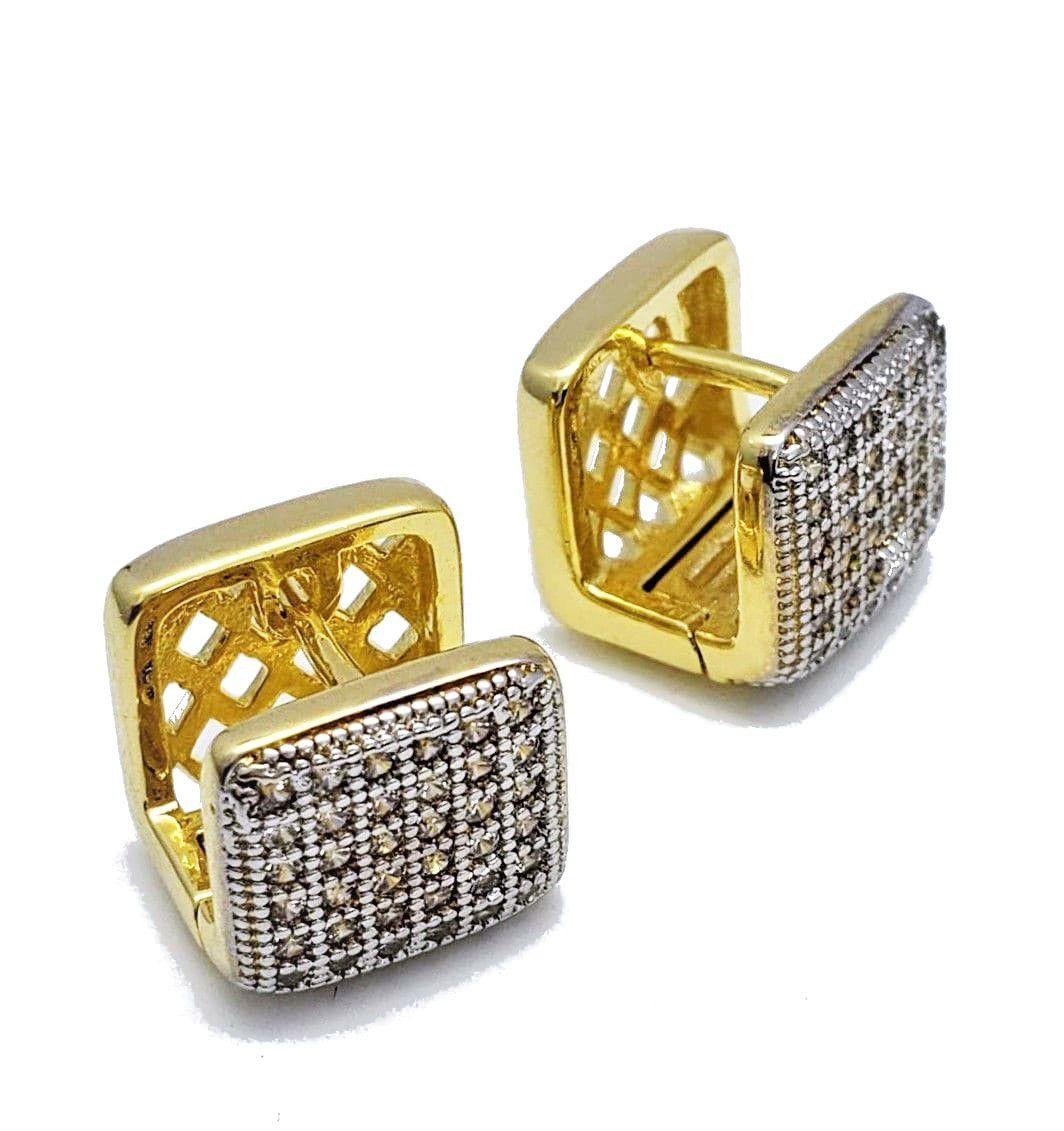 Brincos Cubo Cravação Pavé Microzirconias Banho Ouro 4552