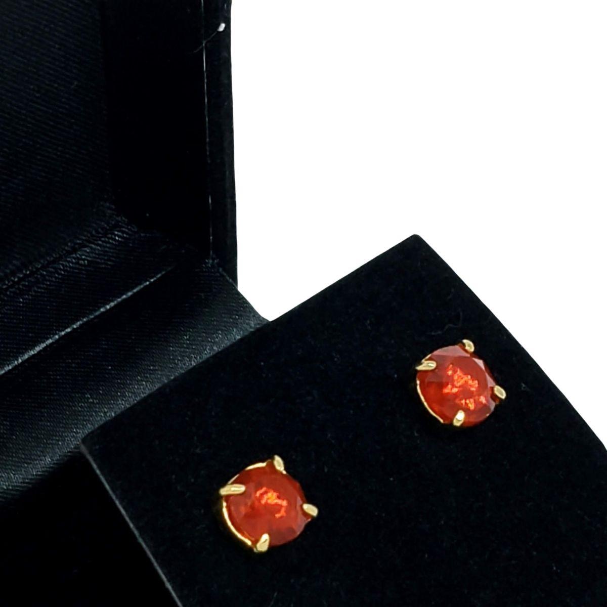 Brincos De Pedra Cristal Lapidação Brilhante Banho De Ouro 18k 1390F