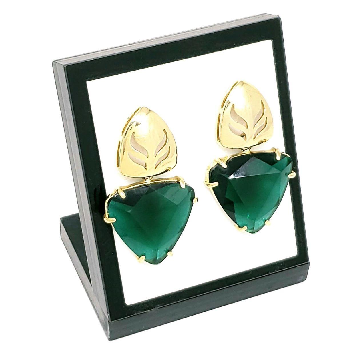 Brincos De Pedra Cristal Verde Esmeralda Lapidação Triangular Francesa Banho De Ouro 18k 398