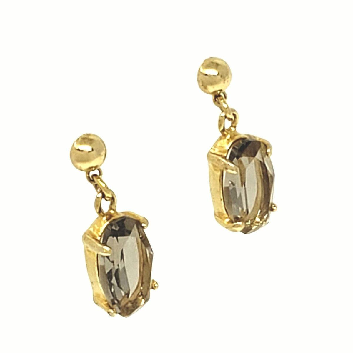 Brincos De Pedra Facetada Cristal Navete Banho De Ouro 18k 1390