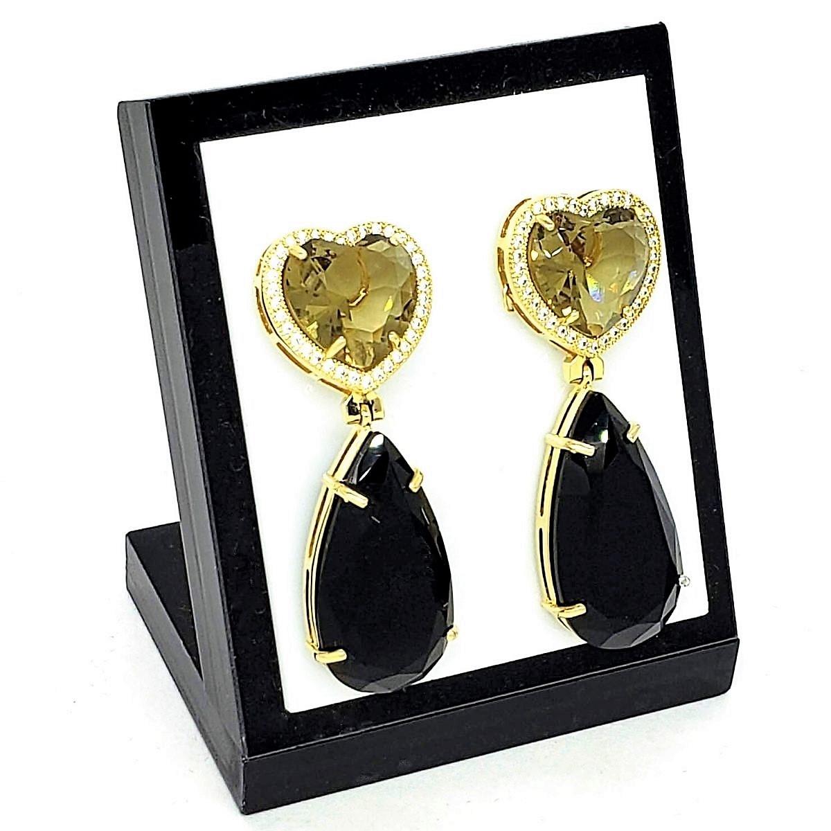 Brincos De Pedras Coração Cravejado Com Zirconias Banho De Ouro 18k 2121