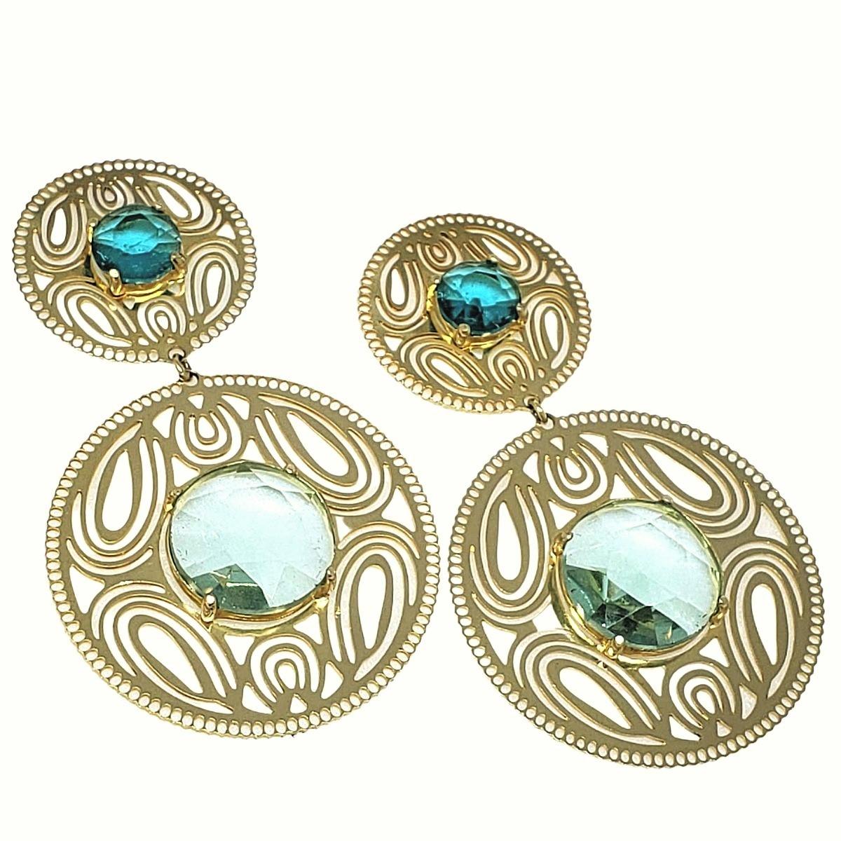 Brincos De Pedras Cristais Verdes Turmalina E Esmeralda Banho De Ouro 18k 1375