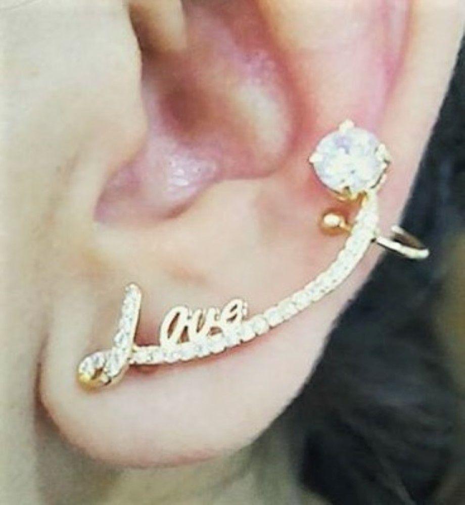Brincos Ear Cuff Love Zirconias Banho Ouro 18k 3800