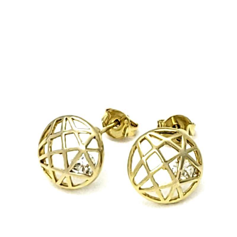Brincos Esfera Geodésica Com Zirconias Banho De Ouro 18k 1772
