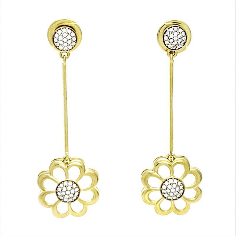 Brincos Flor Cravejados Com Zirconias Em Prata Com Banho De Ouro 18k 1690