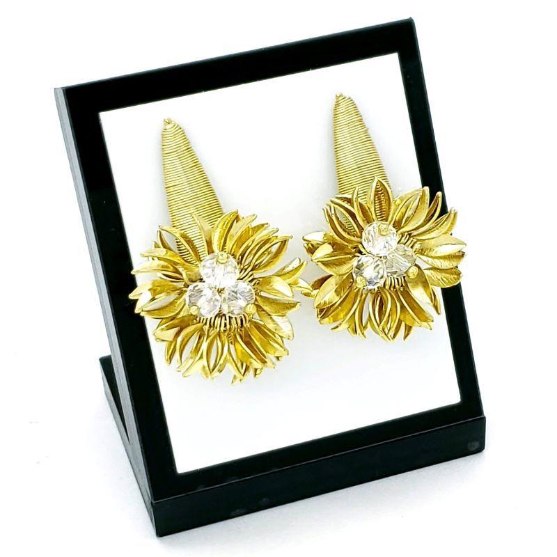 Brincos Flor De Cristal Pétalas Douradas Banho De Ouro 18k 1620