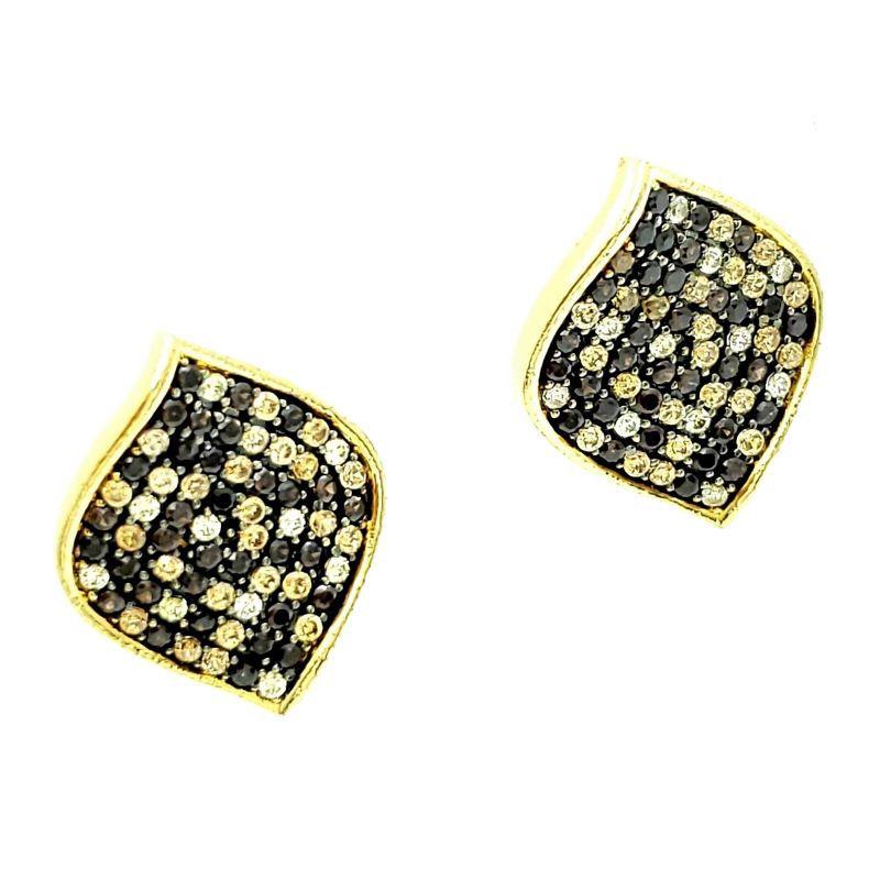 Brincos Em Prata Com Banho De Ouro 18k Folha Cravejados De Zirconias 1285
