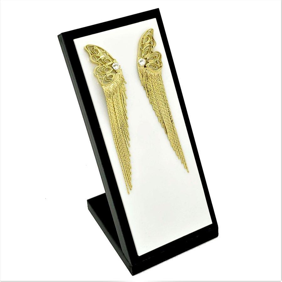 Brincos Franjas Borboleta Com Zirconia Banho De Ouro 18k 3177