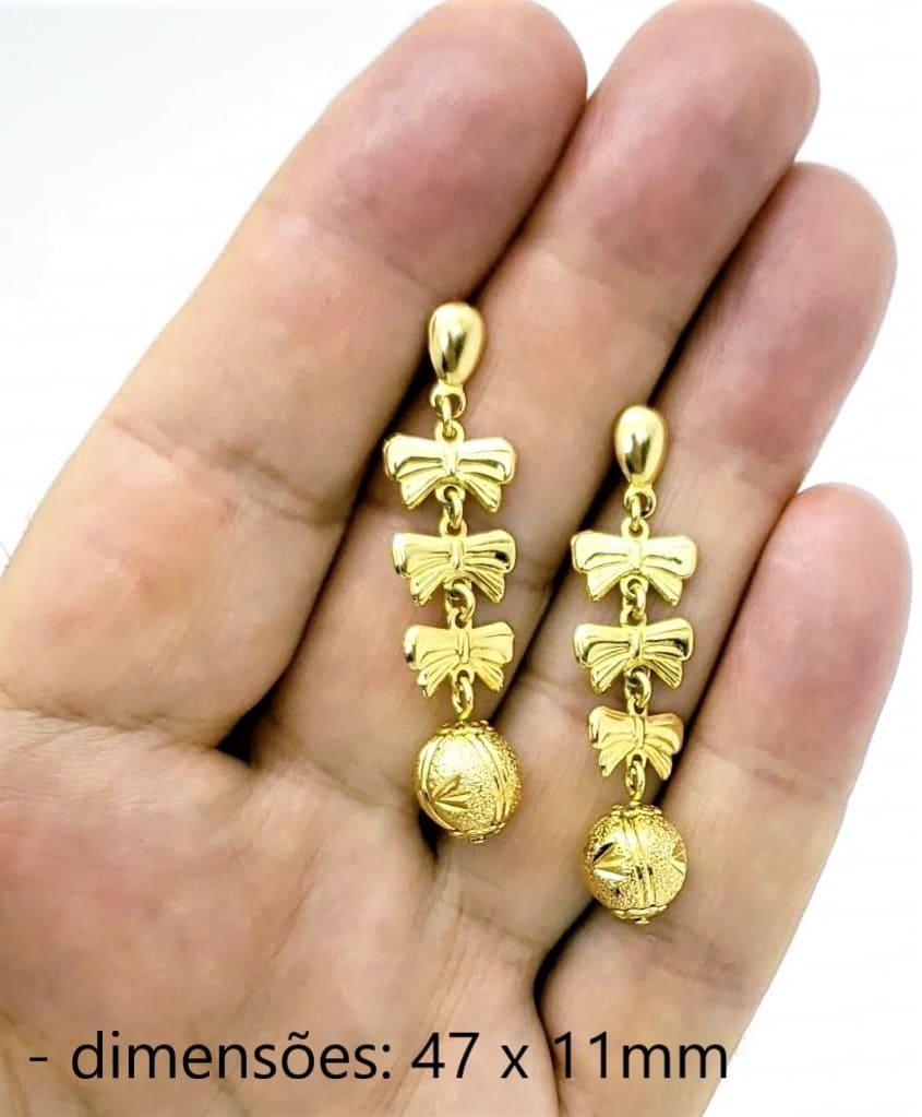 Brincos Laços E Bola Diamantada Banhados A Ouro 18k 242