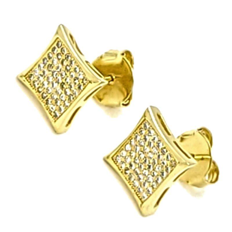 Brincos Losangos Cravejados De Zirconias Banhados A Ouro 18k 1347