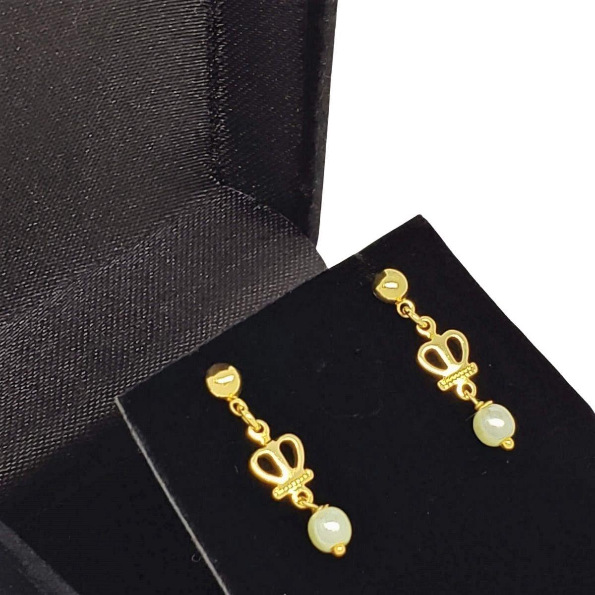 Brincos Pérola E Coroa Banho De Ouro 18k 1405