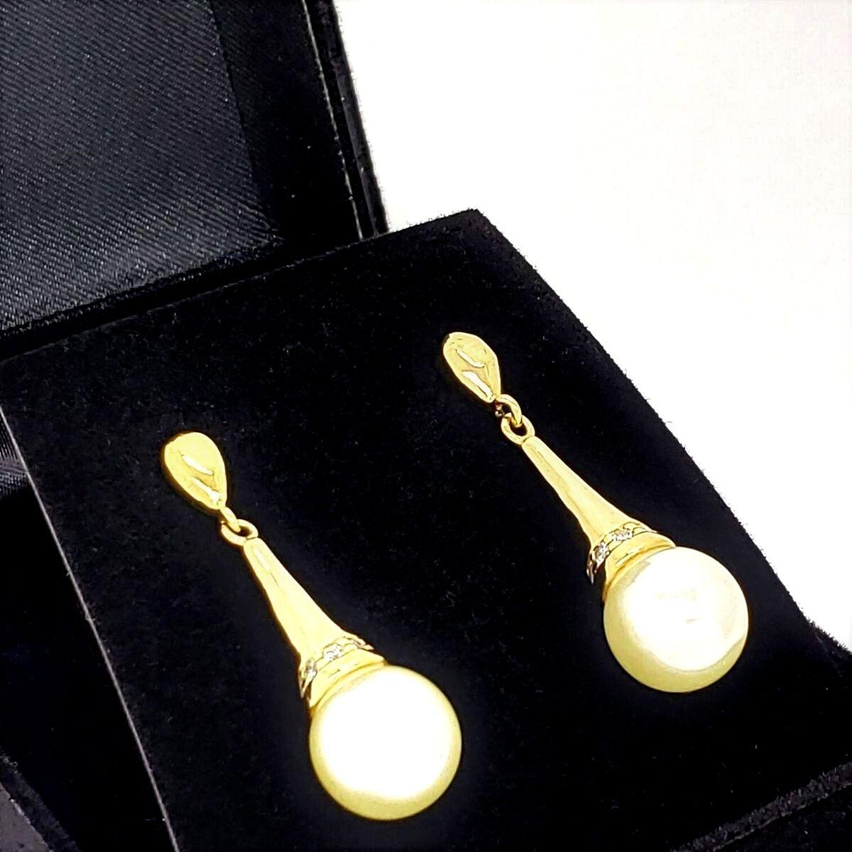 Brincos Pérolas Cone Cravejado De Zirconias Banho Ouro 18k 2142