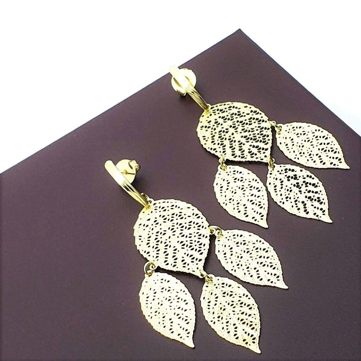 Brincos Renda Folhas Banho De Ouro 18k 2475