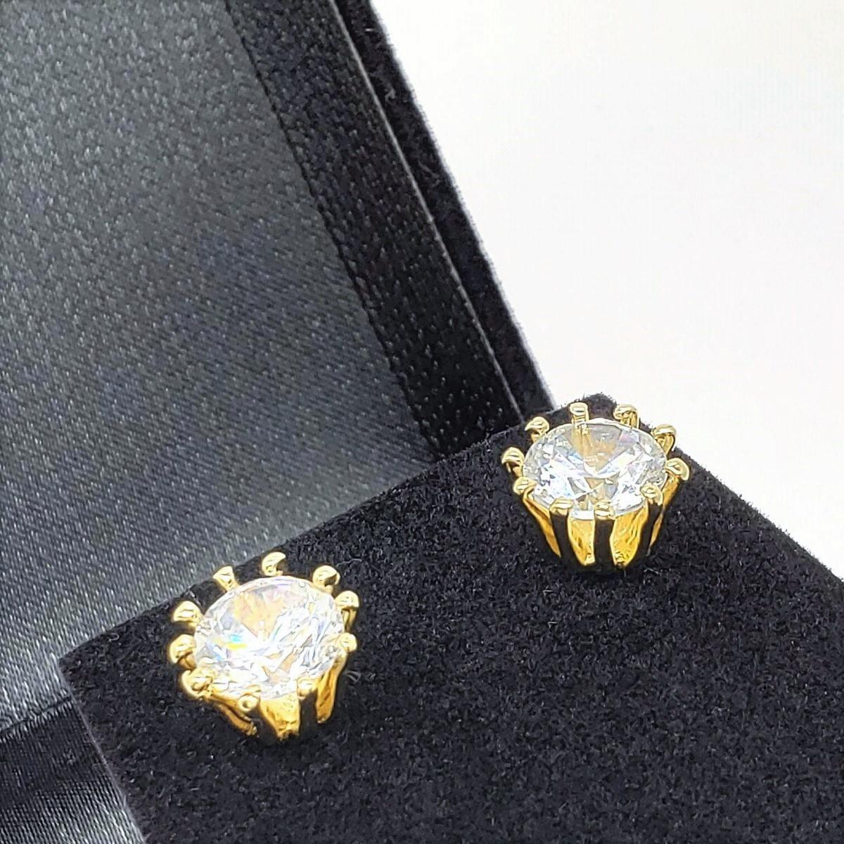 Brincos Solitário Cristal Banho De Ouro 18k 2240