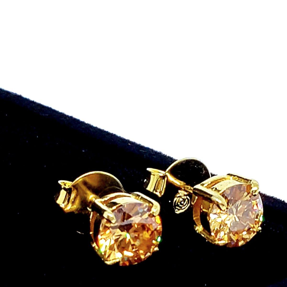 Brincos Solitário Cristal Lapidação Brilhante Banho De Ouro 18k 1409