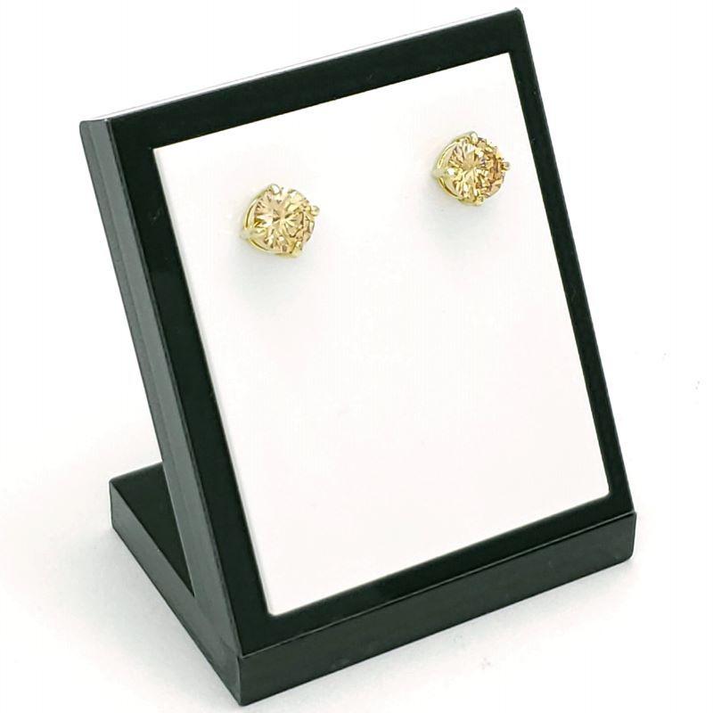 Brincos Solitário Cristal Lapidação Brilhante Banhados A Ouro 18k 1409