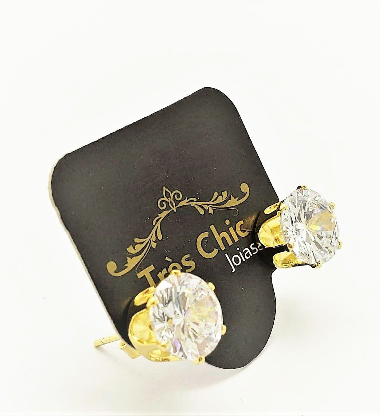 Brincos Solitário Zirconia Cristal Tulipa Banho Ouro 18k 4580