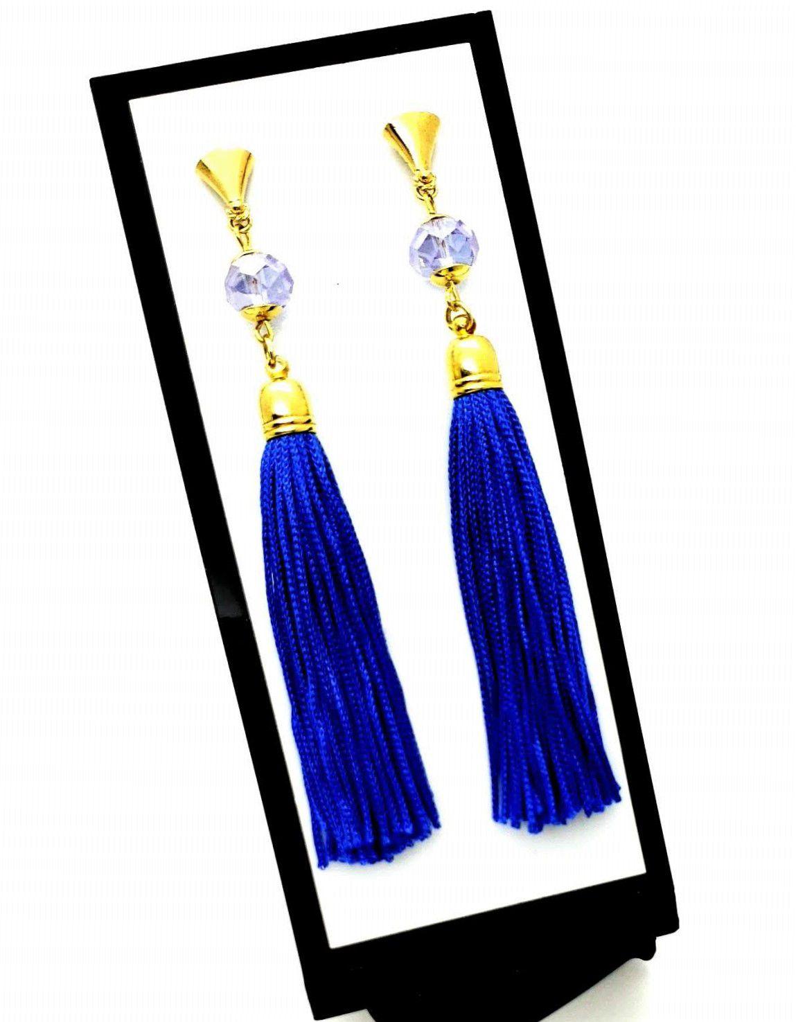 Brincos Longos Tassel Azul E Cristal Banho De Ouro 18k 75