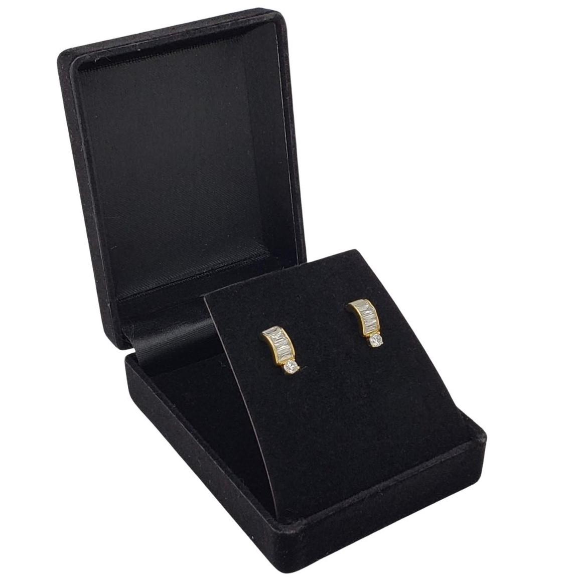 Brincos Zirconias Baguete Banho De Ouro 18k 2430